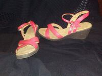 pair of pink open-toe ankle strap wedges Seattle, 98119