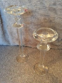 CRYSTAL TALL CANDLE HOLDERS - DON MILLS CLOSE TO THE SHOPS Toronto