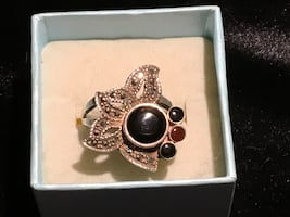 925 marcasite and onyx ring