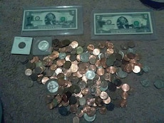 2 misprinted two dollar bills and lots of old coin
