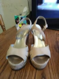 pair of white leather open-toe ankle strap heels El Paso, 79901