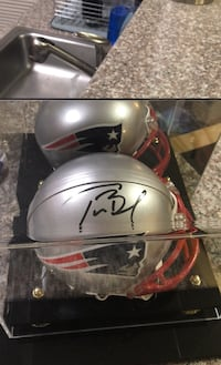 Tom Brady Autographed Mini Helmet with COA and awesome display case Sterling, 20166