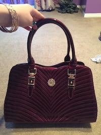 maroon leather tote bag