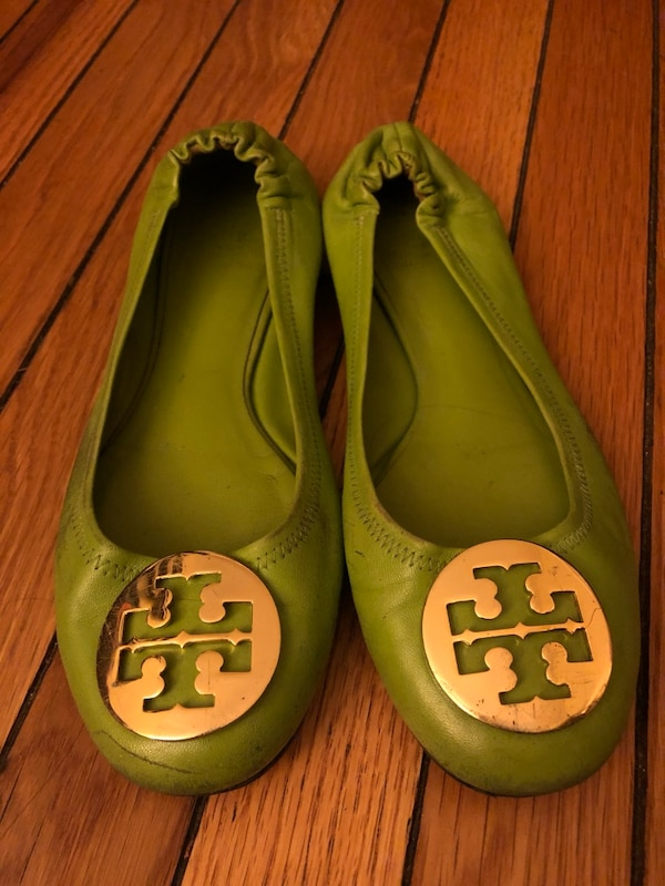 Pair of green tory burch leather flats