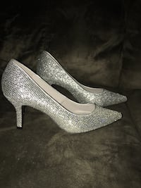 pair of gray glittered platform stilettos Haverhill, 01835