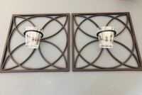 Set of 2 - black wrought iron candle holders with glass cups Katy, 77494
