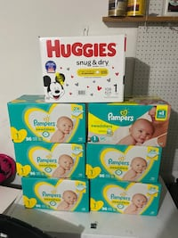 6 Pampers Size 1 (96ct)& 1 box Huggies (108ct) all for 120.00