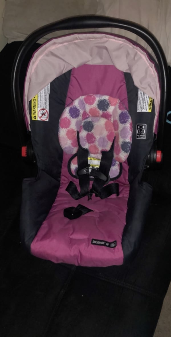 Used Girl Car Seat And Stroller Combo With Car Seat Base For Sale