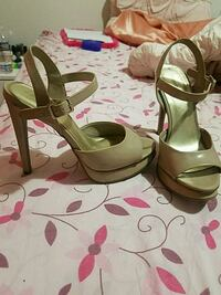 pair of brown leather open toe ankle strap heels West Virginia