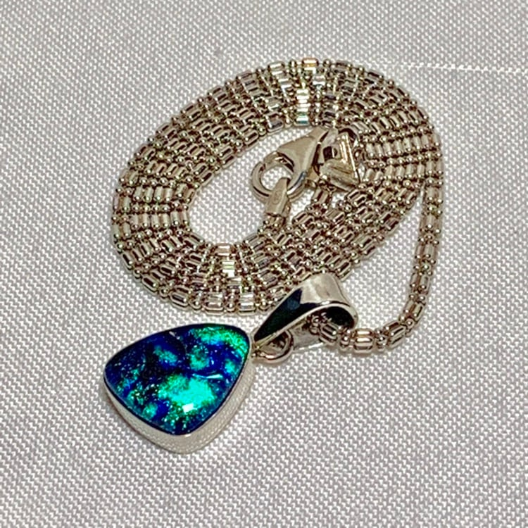 Vintage Sterling Silver Dichroic Glass Pendant with Sterling Chain 191116c5-c429-4d7b-9640-be83f4bde0f0