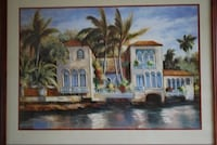 brown wooden framed painting of house Tarpon Springs, 34689