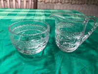two clear cutglass pitcher and bowl 223 mi
