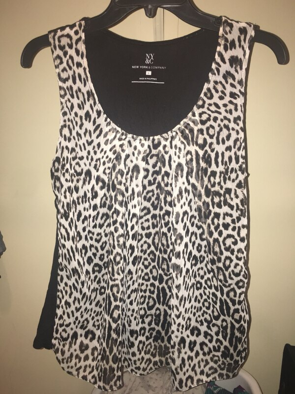 Used women s white and black leopard print tank top for sale in Atlanta -  letgo d97458051