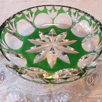 """Bleikristall 5 3/4"""" Emerald Green Cut to Clear German Crystal For Sale!"""