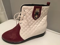 white and red leather lace up booties Lorton, 22079