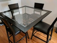rectangular black wooden table with four chairs dining set Atlanta, 30324