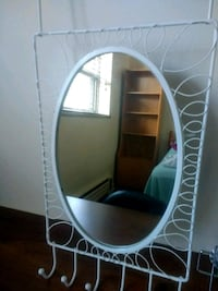 oval white wooden framed mirror /door organizer Toronto, M3H 5P7