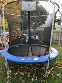 blue and black trampoline with enclosure