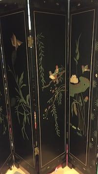 antique screen room divider, Asian, black lacquer, carved