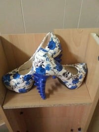 white-and-blue floral platform stilettos shoes wit Creston, 50801