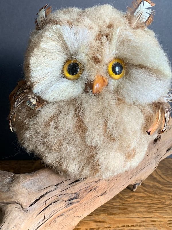 Vintage Faux Owl Perched on Driftwood Mid-Century Kitschy Home Decor c59d24eb-4605-4774-a2a0-ce3390ef3c5c