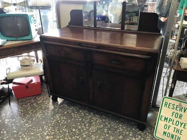 Antique Buffet With Mirror >> Antique Buffet Hutch Mirror Storage Wood Cabinet