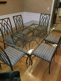 black metal framed glass top table with chairs Bloomfield Hills, 48304