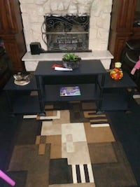 black wooden frame glass top TV stand Bakersfield, 93306