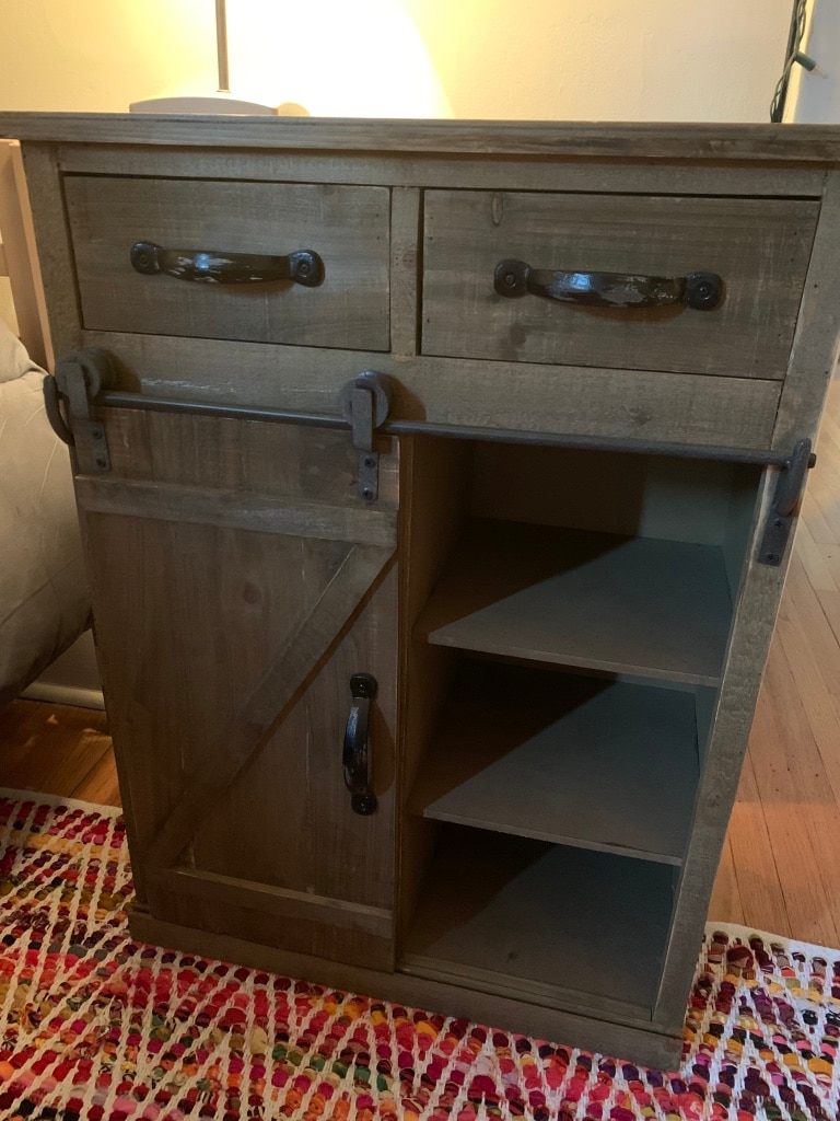 Photo End Table / Nightstand with Sliding Barn Door