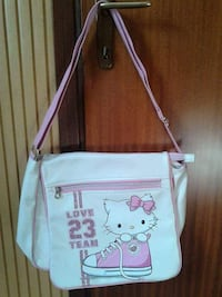borsa a tracolla in pelle Hello Kitty bianca e rosa
