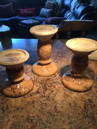 3 ceramic candle holders, very heavy, great condition!