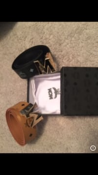 black and brown leather MCM belts