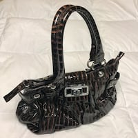 Like New Women's Large Brown Guess Patent Glazed Satchel Purse