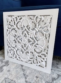 Carved wood white mirror wall hanging New York, 11201