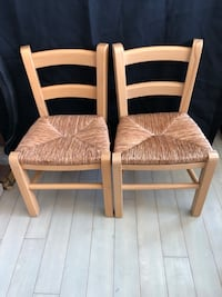 Pair (2) Kids Wood and wicker Chairs Pinellas Park