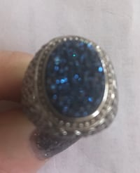 Round silver and blue druzy gemstone ring