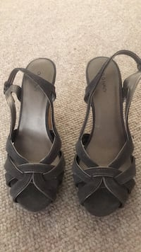Pair of black leather open toe ankle strap heels Columbia, 21045