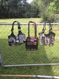 Guess, Dooney & Bourke, and black leather handbags