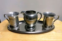 Set of 2 Pewter Cups & Pitcher w/Tray Falmouth, 22406