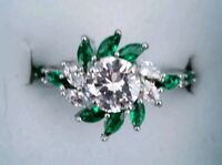 Sterling silver emerald and diamond ring Baltimore, 21224