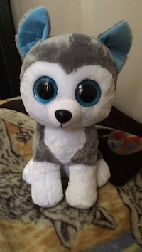 white and grey dog plush toy Cambridge, N1R 5C9