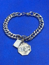 "VINTAGE Sterling Bracelet with ""I'll never stop loving you"" Charm and Western Union Telegram Charm San Antonio, 78023"