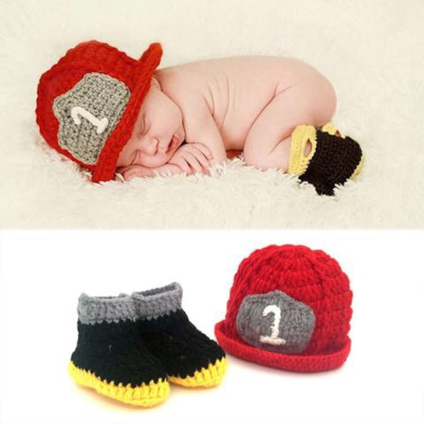 Knit - Fireman Baby Photo Op Outfit