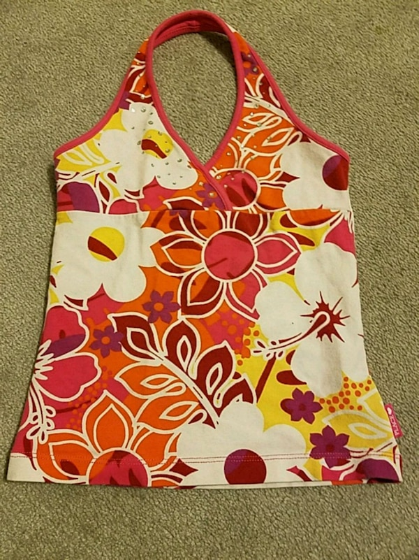 white and red floral tank top