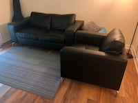 Black leather sofa and chair Alexandria