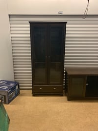 3 pieces Black wooden cabinet with glass doors and larger cabinets have 2 glass shelves . No scratches and in great shape  Euless, 76039