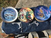 two round blue and white ceramic plates Sebring