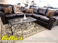 brown leather sectional sofa with throw pillows Houston, 77080