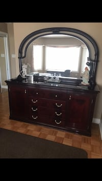 Cherry wood dresser/mirror and two end tables Vaughan, L4L 9H7