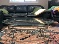 Coffee table - thick beveled glass top-golden base